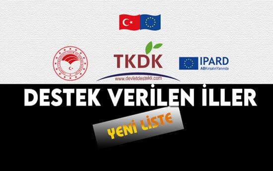 TKDK Destek Verilen İller 2021 Yeni Liste